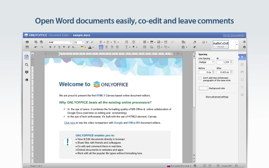 Edit  docx,  xlsx and  pptx files online with ONLYOFFICE Personal +