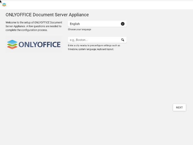 ONLYOFFICE appliance language setup