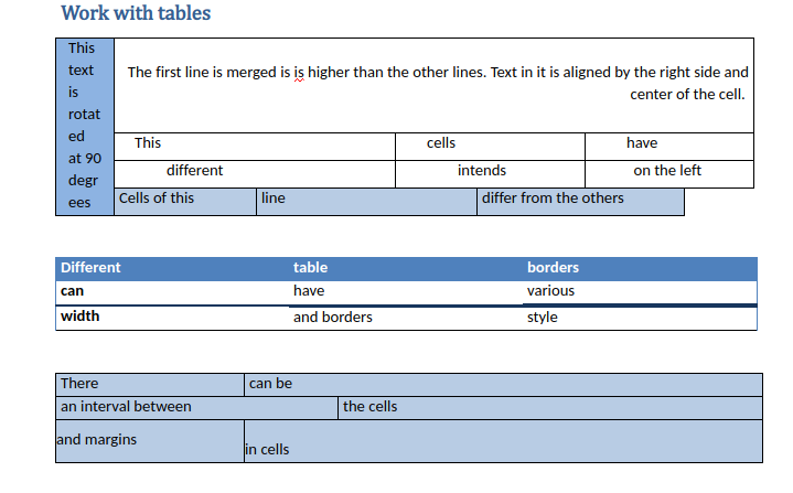 11 Tables in Word Online