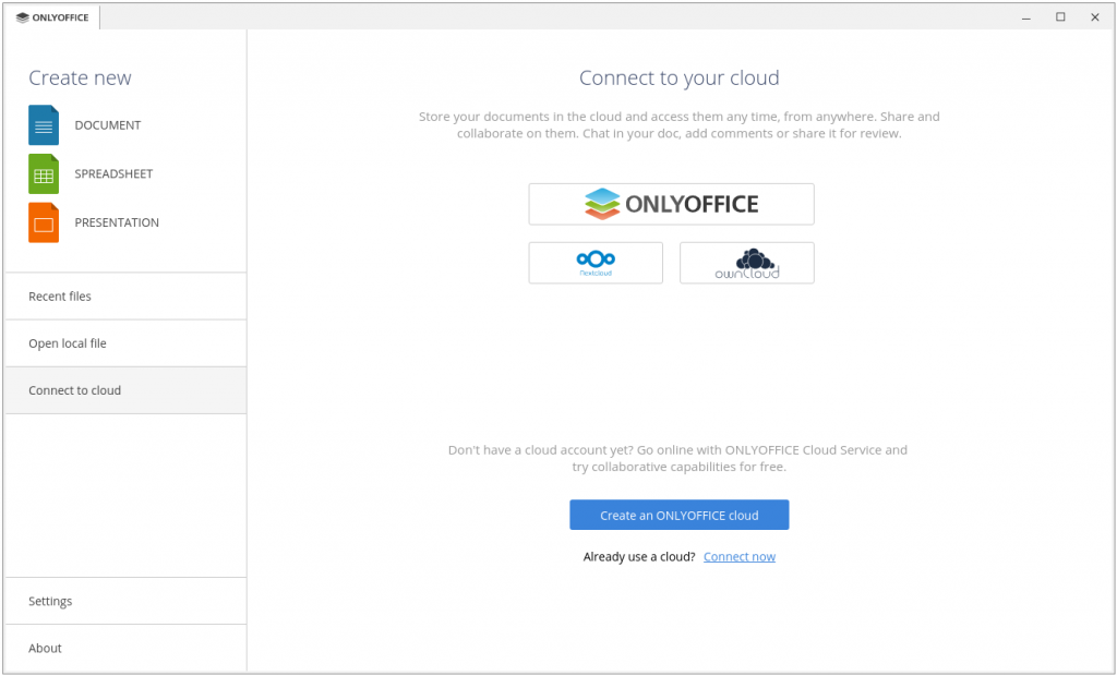 onlyoffice desktop editors connect to cloud