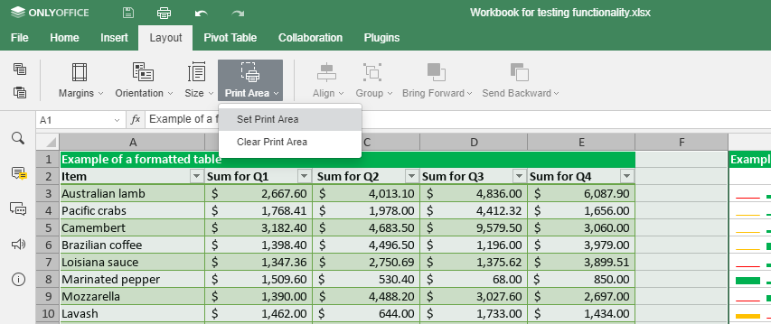 ONLYOFFICE spreadsheet print area