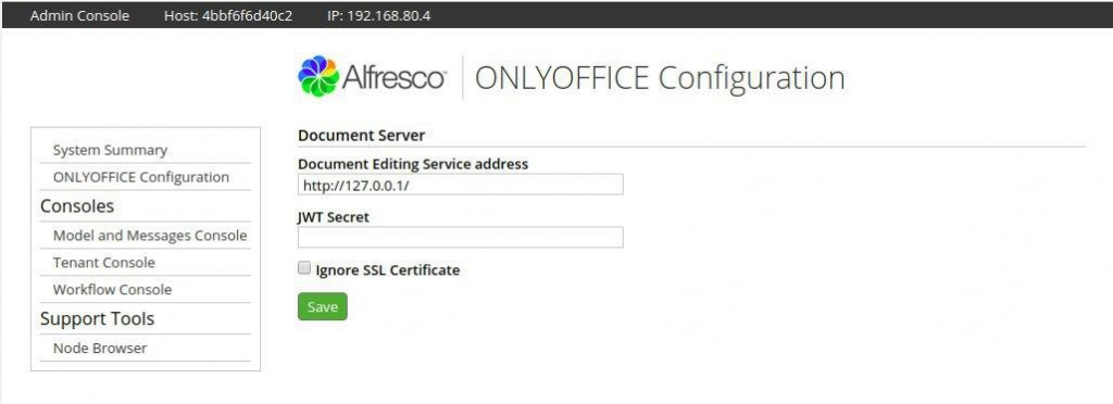 ONLYOFFICE control panel in Alfresco