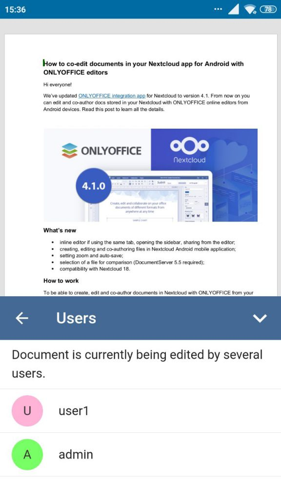 Edit documents in Nextcloud with ONLYOFFICE from Android device