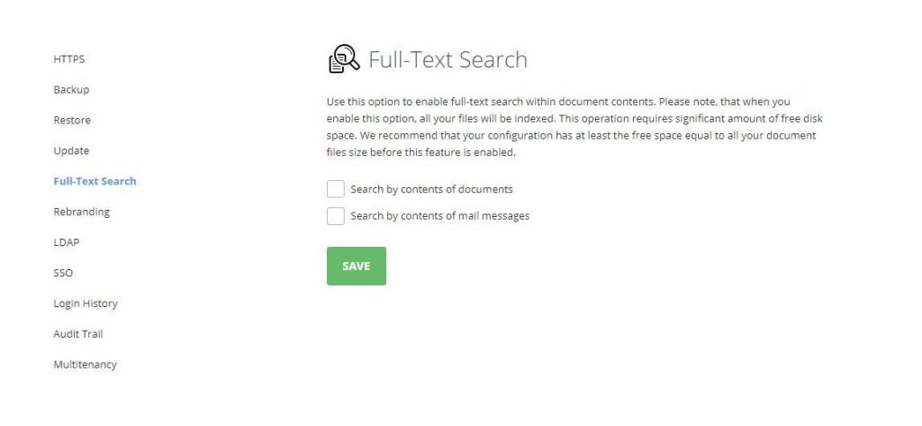 Control Panel, ONLYOFFICE, full-text search