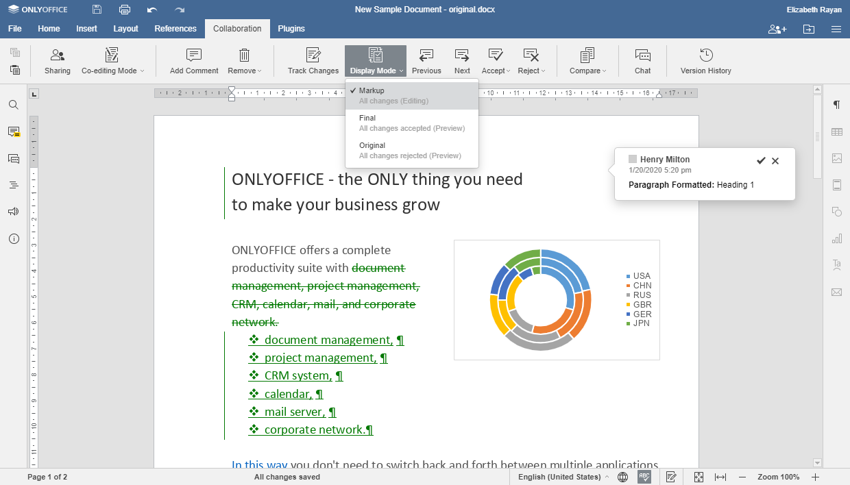 Document comparison in ONLYOFFICE v.5.5