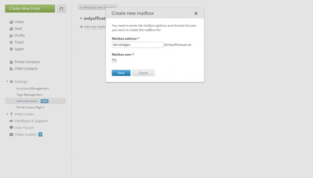 ONLYOFFICE, Mail Server, creating a mailbox