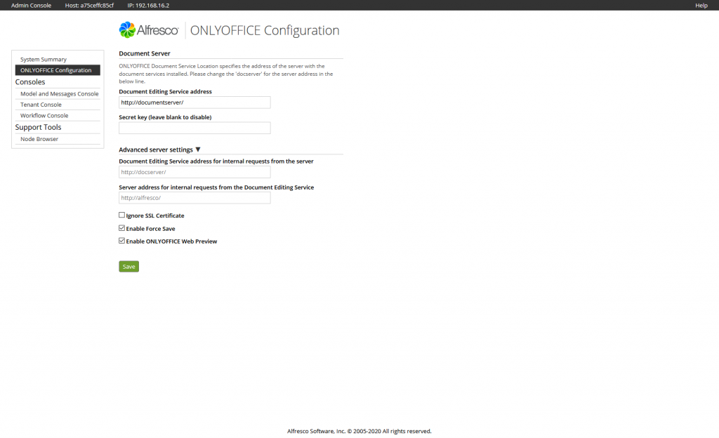 ONLYOFFICE, settings, Alfresco admin console