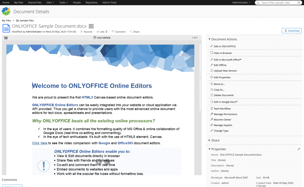 ONLYOFFICE document details. Alfresco