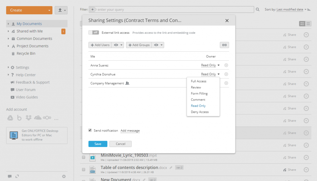 ONLYOFFICE, settings, document sharing