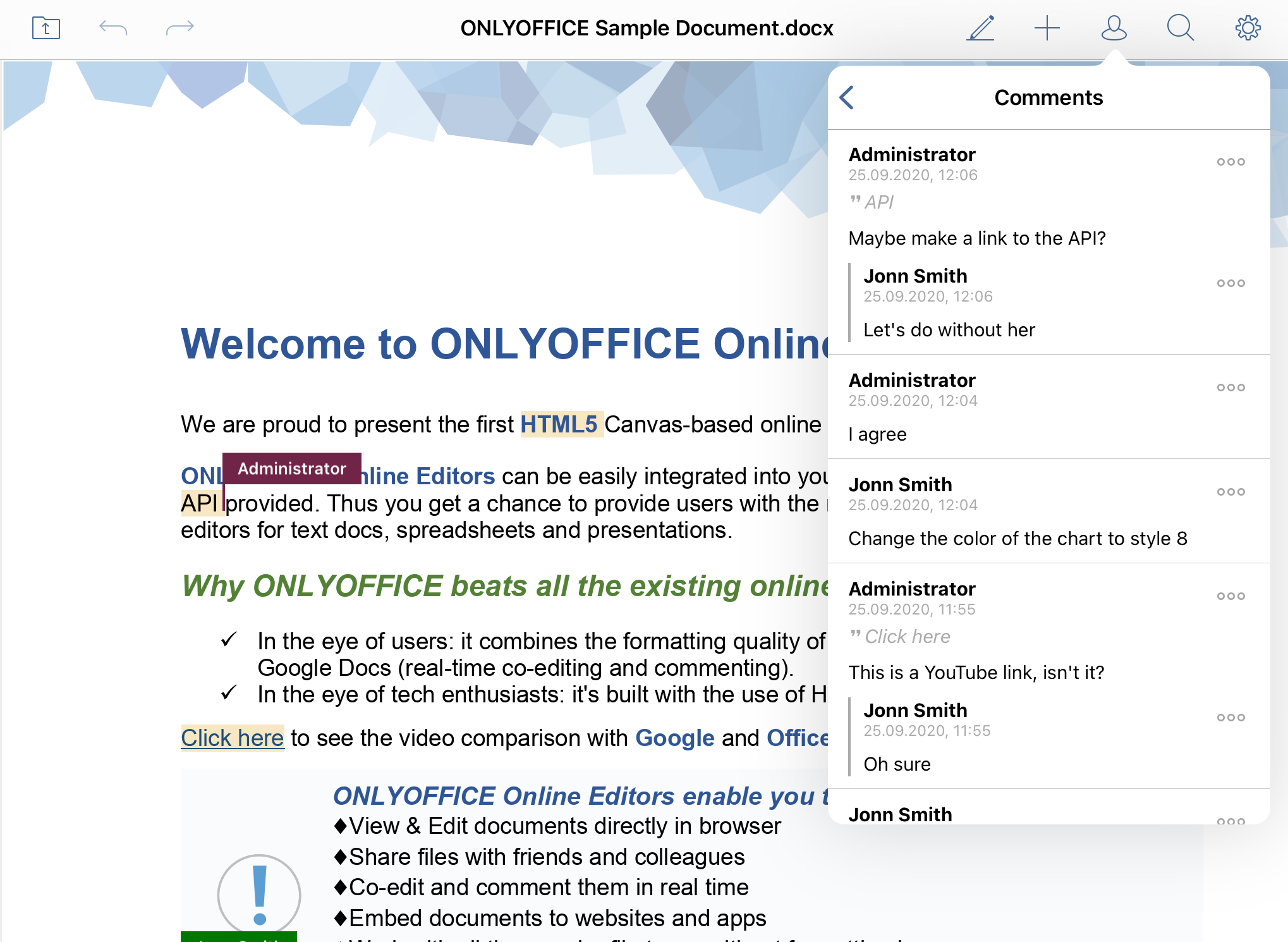 ONLYOFFICE Documents 6.2 for iOS with comments and document review is available on App Store