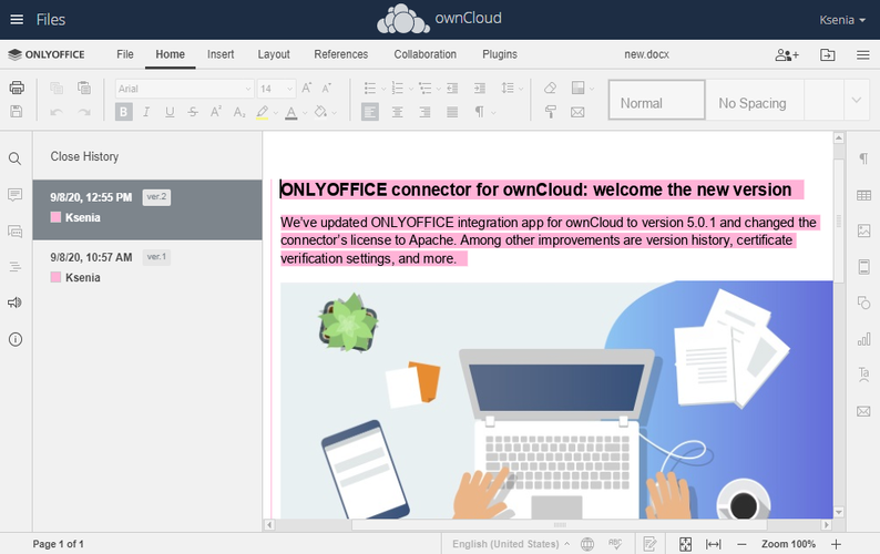 ONLYOFFICE connector for ownCloud: welcome the new version