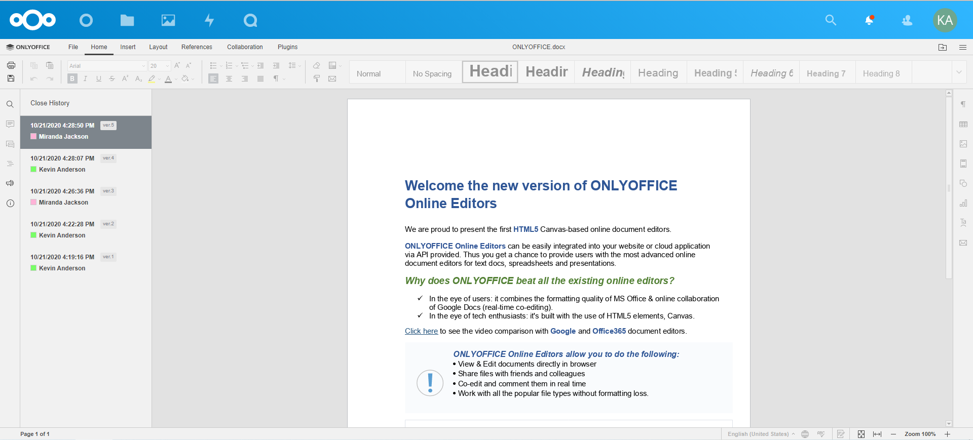 ONLYOFFICE connector for Nextcloud: welcome the new version