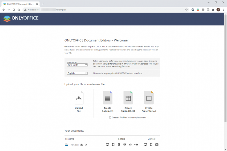 Version 6.0.2 of ONLYOFFICE Docs with integrated test example for Community Edition
