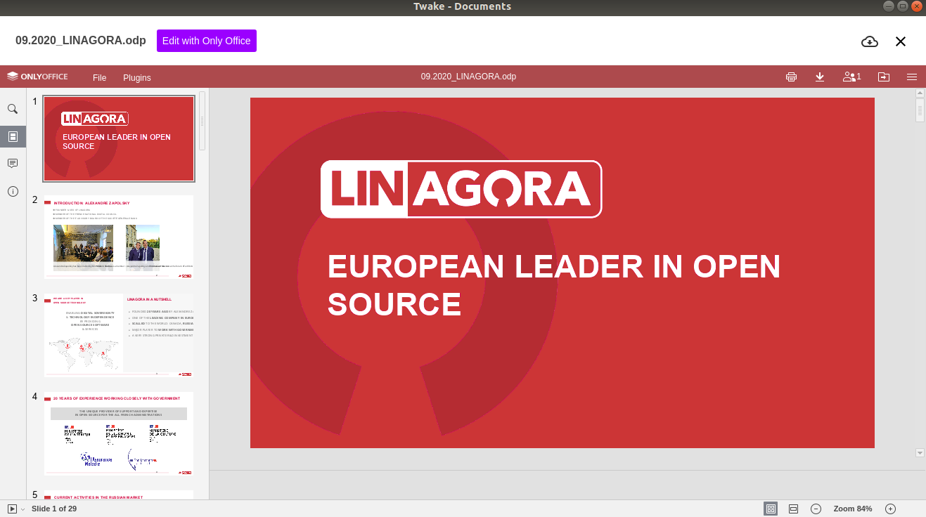 LINAGORA integrates ONLYOFFICE Docs to cover remote users' needs for real-time co-editing