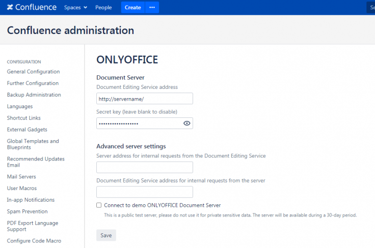 ONLYOFFICE connector for Confluence: version 2.4.1 released with connection to the demo server