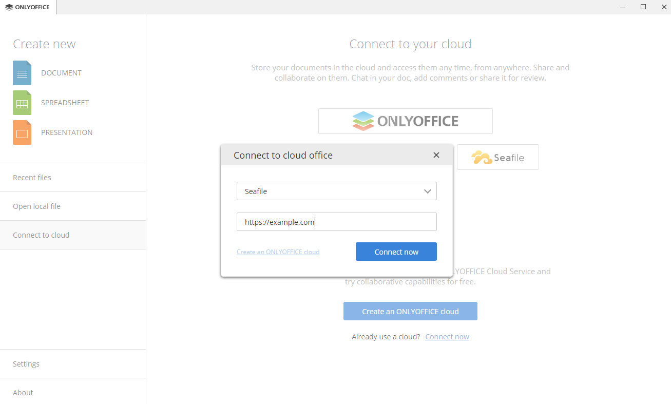 How to connect ONLYOFFICE Desktop Editors to Seafile