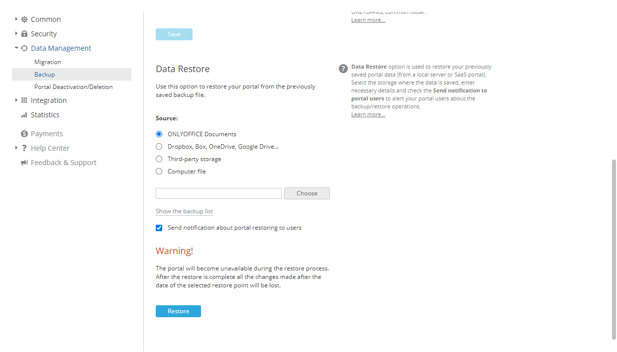 New ONLYOFFICE Workspace in the cloud: Restore, SSO, and LDAP and Elasticsearch integration