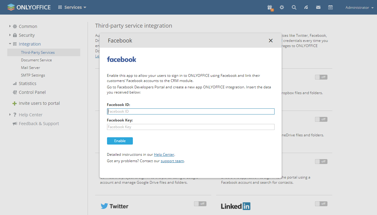 How safe Is Facebook integration in ONLYOFFICE Workspace