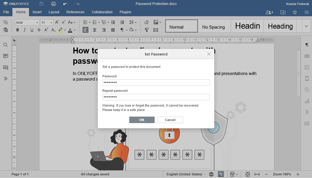 How to protect a Word document with a password in ONLYOFFICE