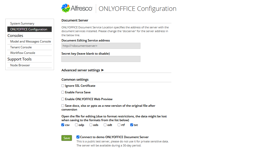 ONLYOFFICE connector v.5.0 for Alfresco with connection to the demo server
