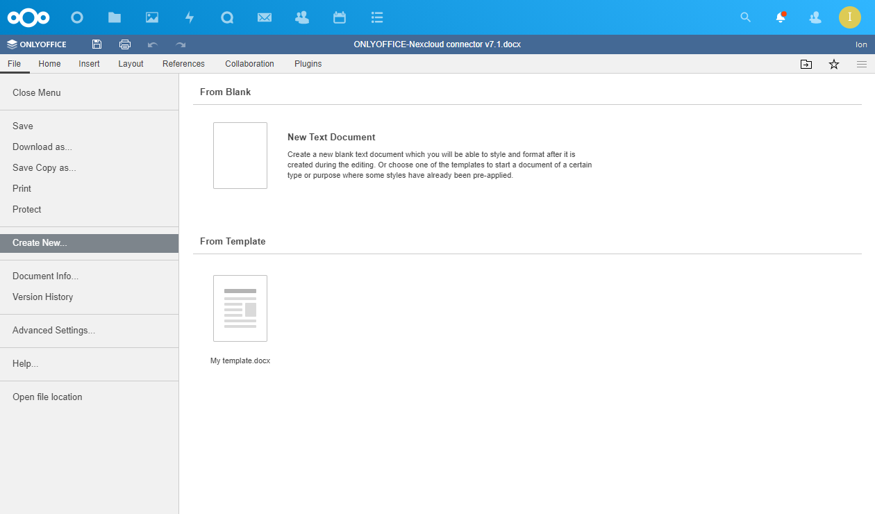 ONLYOFFICE-Nexcloud connector v7.1.0 with mentions in comments