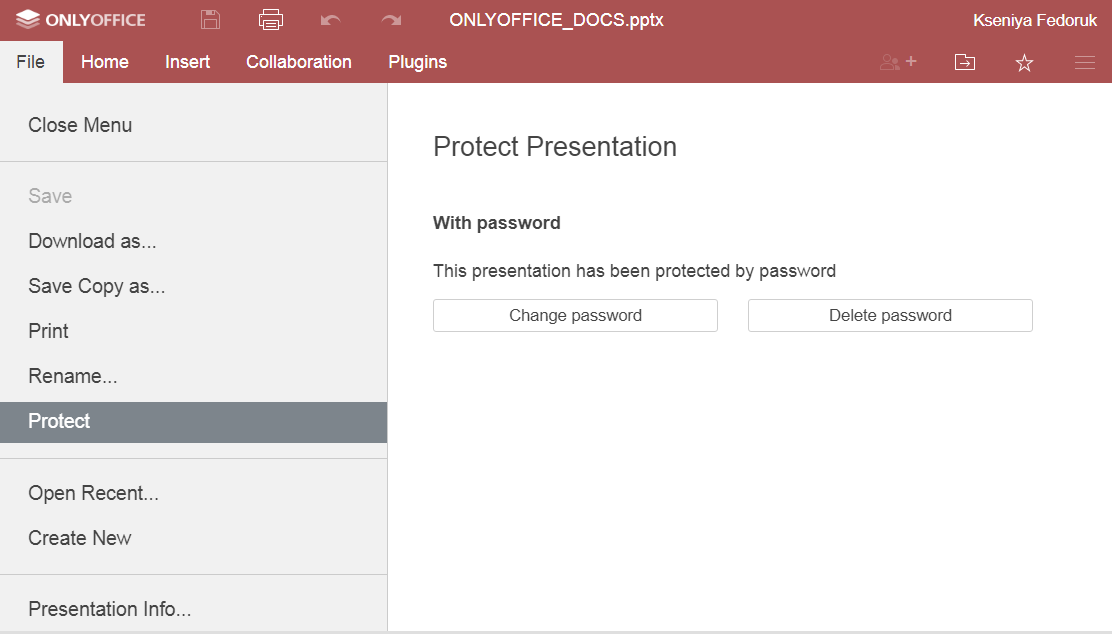 How to protect a PowerPoint file with a password in ONLYOFFICE