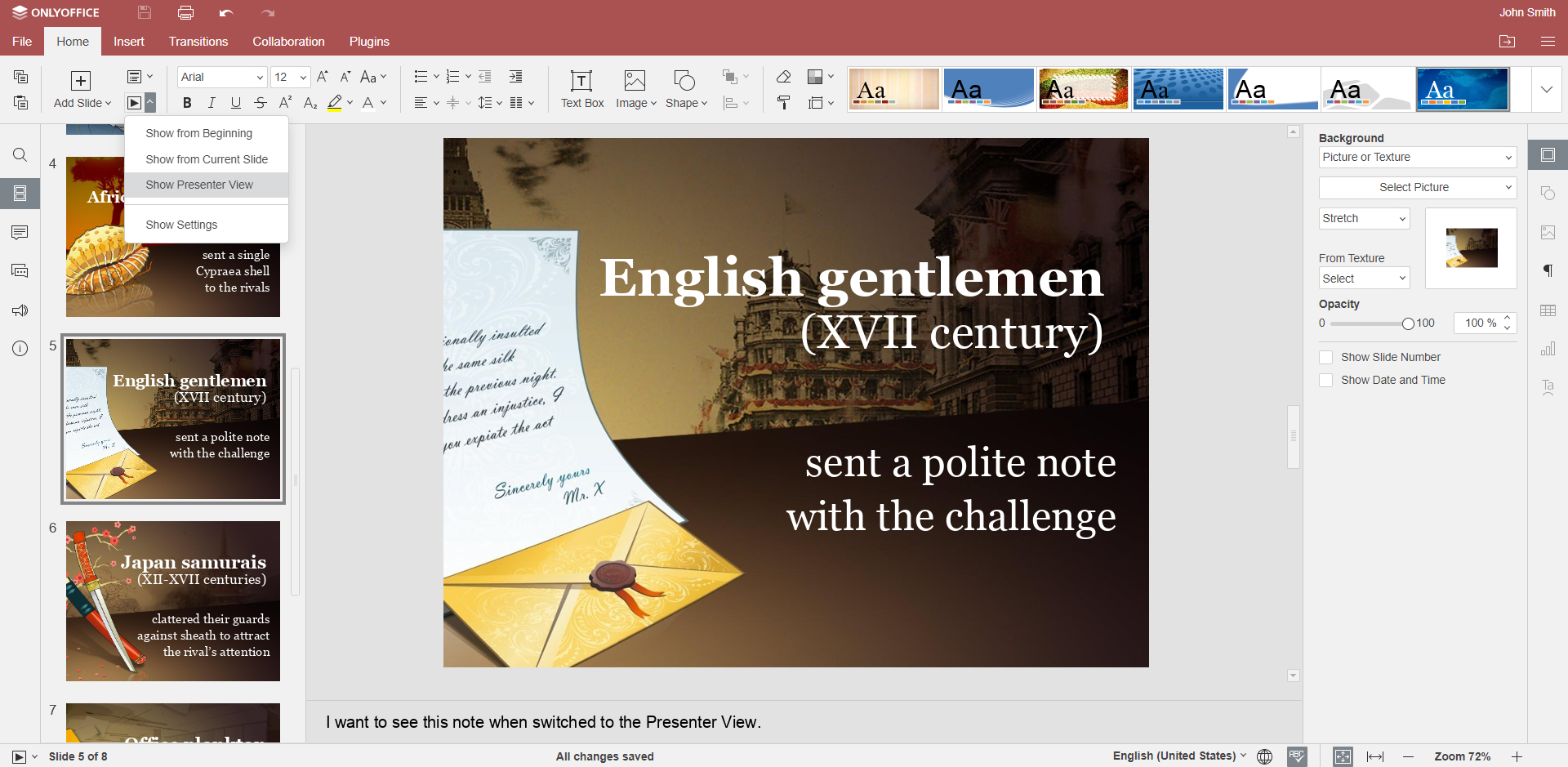 How to add notes to PowerPoint presentation in ONLYOFFICE Docs
